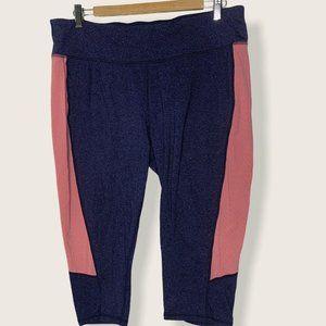 Tek Gear Blue Pink Panel Shapewear Capris Leggings